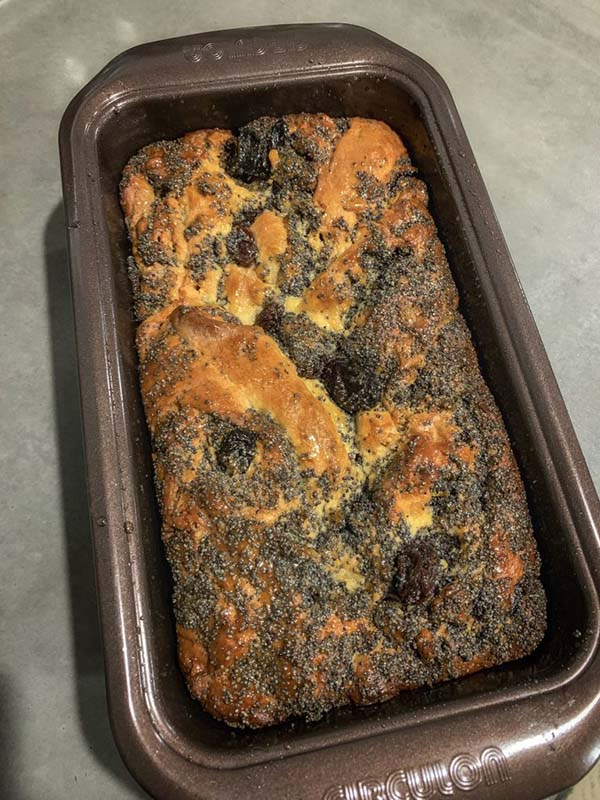 Babka bread in a bread pan just out of the oven