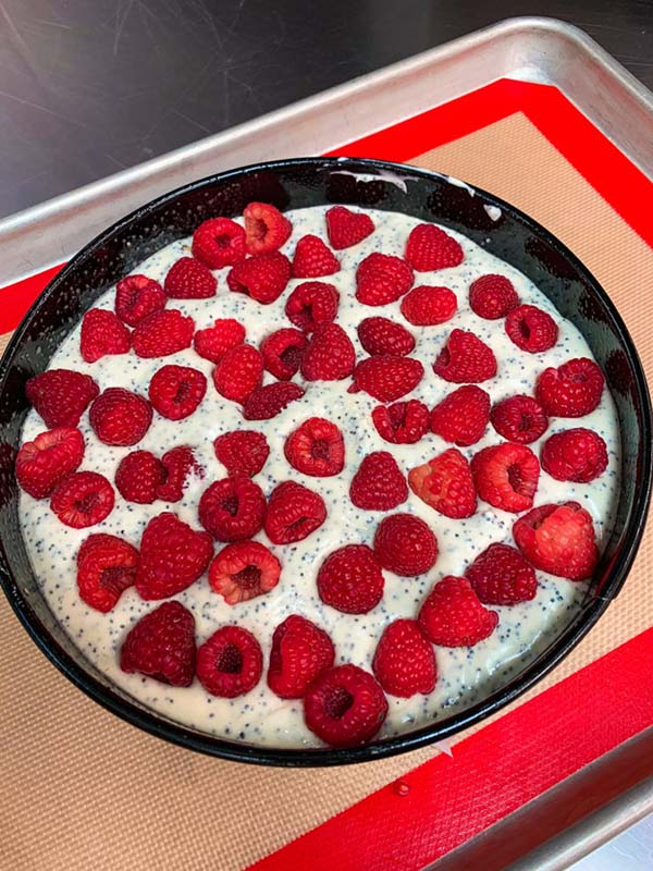 Uncooked Raspberry Poppy Seed Cheese Cake Crumble