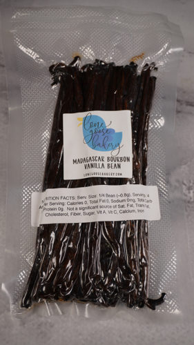 Air-tight bag of vanilla beans weighing 8 ounces