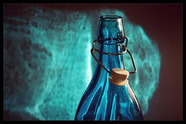 Blue class bottle with cork top