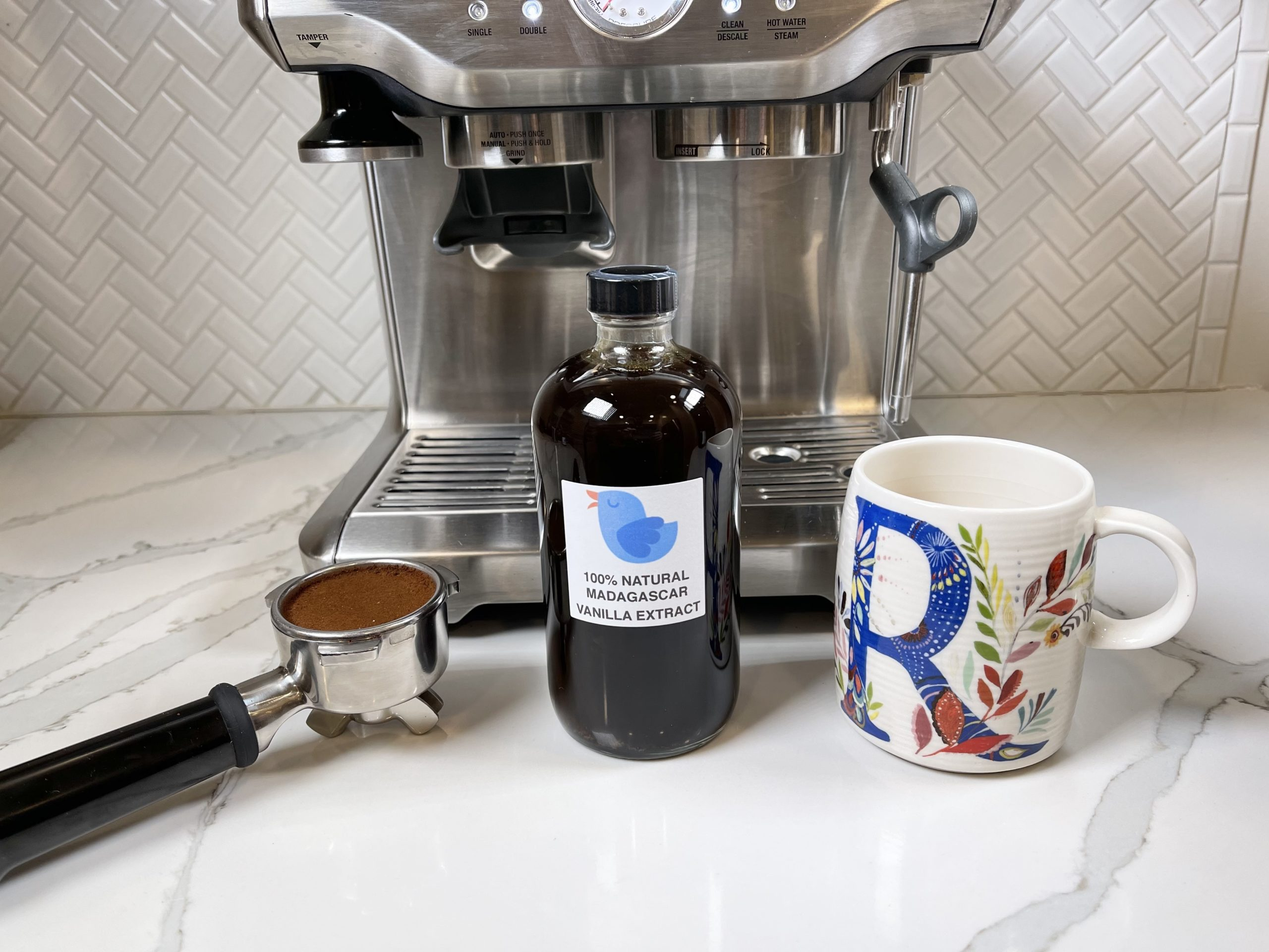 pure vanilla extract with coffee