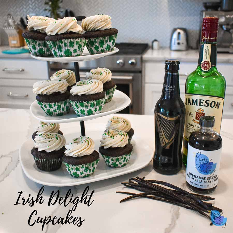 Irish Delight Cupcakes Stacked on Plates