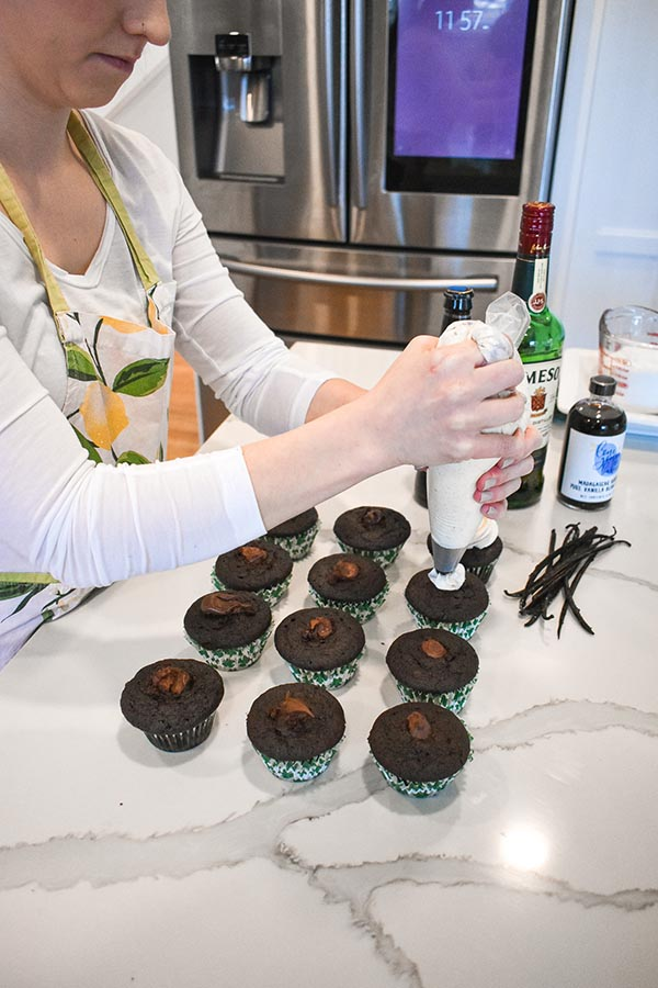 Irish Delight Cupcakes being iced